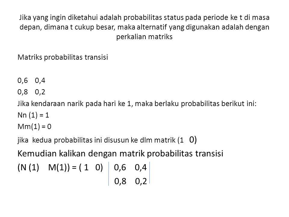 Kemudian kalikan dengan matrik probabilitas transisi