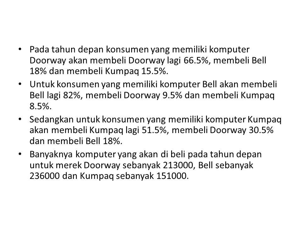 Pada tahun depan konsumen yang memiliki komputer Doorway akan membeli Doorway lagi 66.5%, membeli Bell 18% dan membeli Kumpaq 15.5%.