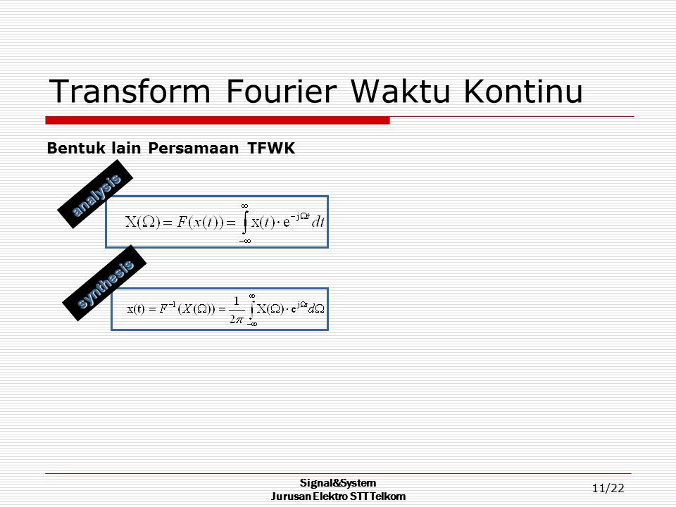 Transform Fourier Waktu Kontinu