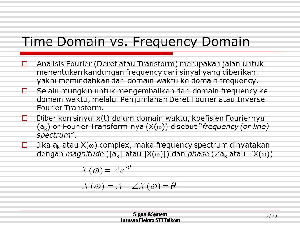 Time Domain vs. Frequency Domain