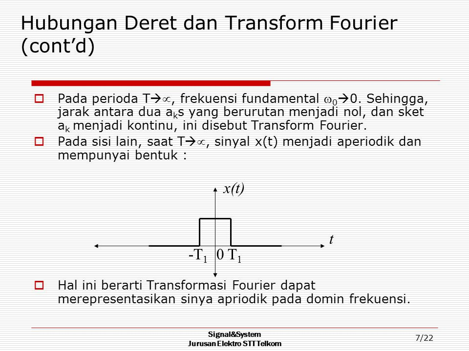 Hubungan Deret dan Transform Fourier (cont'd)