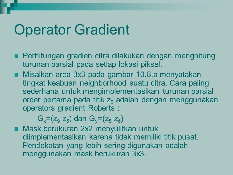Operator Gradient Perhitungan gradien citra dilakukan dengan menghitung turunan parsial pada setiap lokasi piksel.
