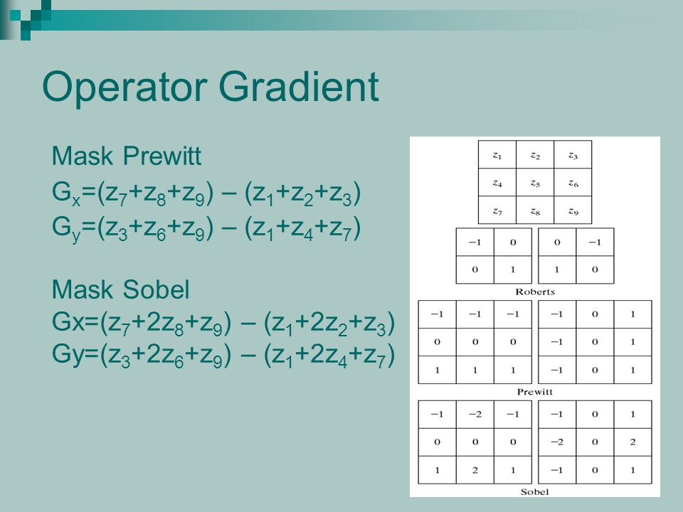 Operator Gradient Mask Prewitt Gx=(z7+z8+z9) – (z1+z2+z3)