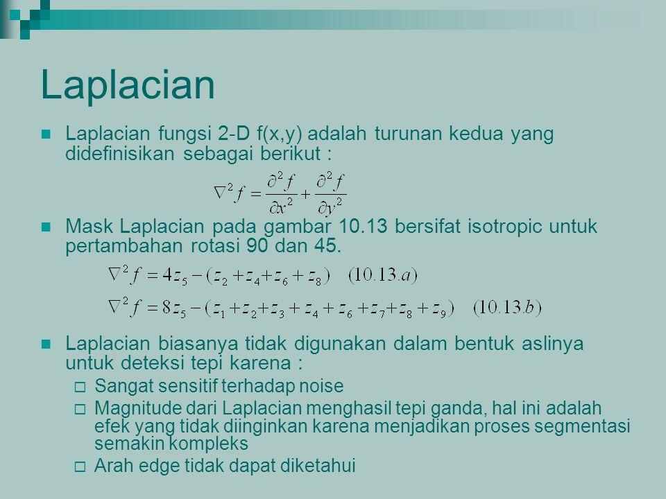 Laplacian Laplacian fungsi 2-D f(x,y) adalah turunan kedua yang didefinisikan sebagai berikut :