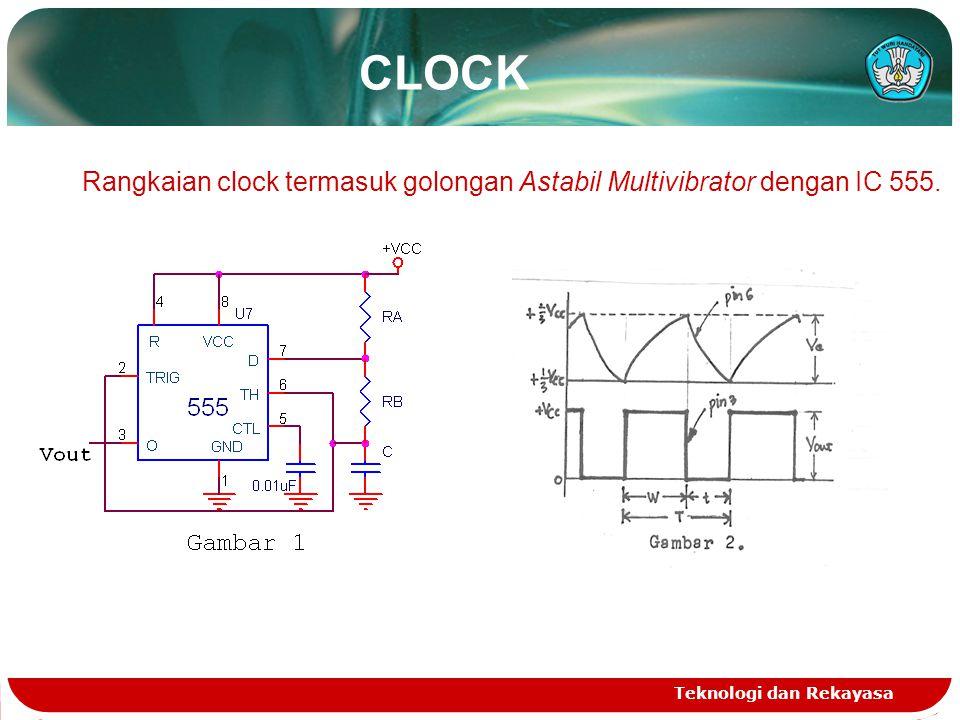 CLOCK Rangkaian clock termasuk golongan Astabil Multivibrator dengan IC 555. Teknologi dan Rekayasa