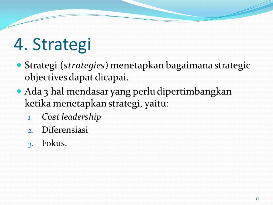 4. Strategi Strategi (strategies) menetapkan bagaimana strategic objectives dapat dicapai.