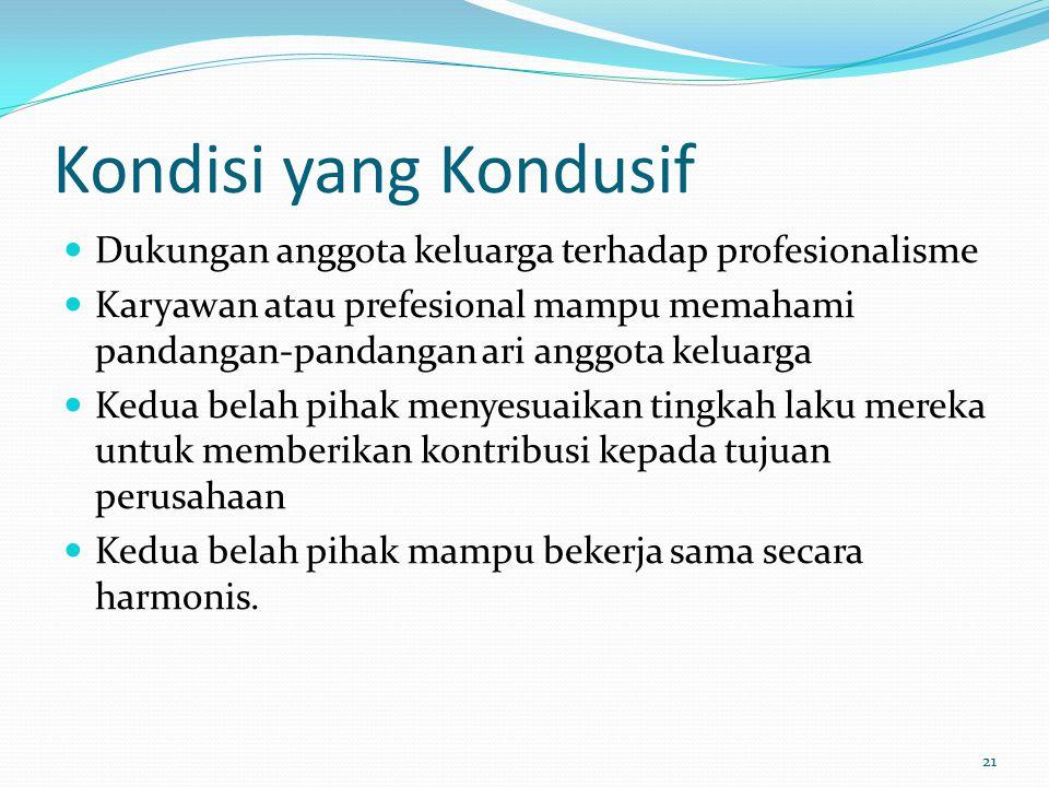 Kondisi yang Kondusif Dukungan anggota keluarga terhadap profesionalisme.