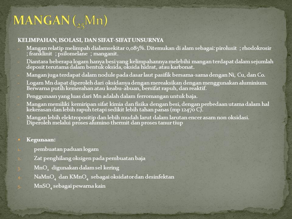 MANGAN (25Mn) KELIMPAHAN, ISOLASI, DAN SIFAT-SIFAT UNSURNYA