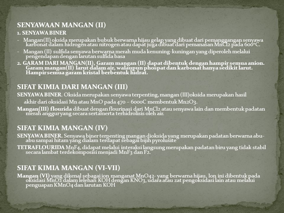 SIFAT KIMIA DARI MANGAN (III)