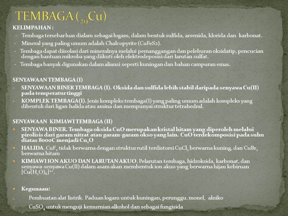TEMBAGA (29Cu) KELIMPAHAN :