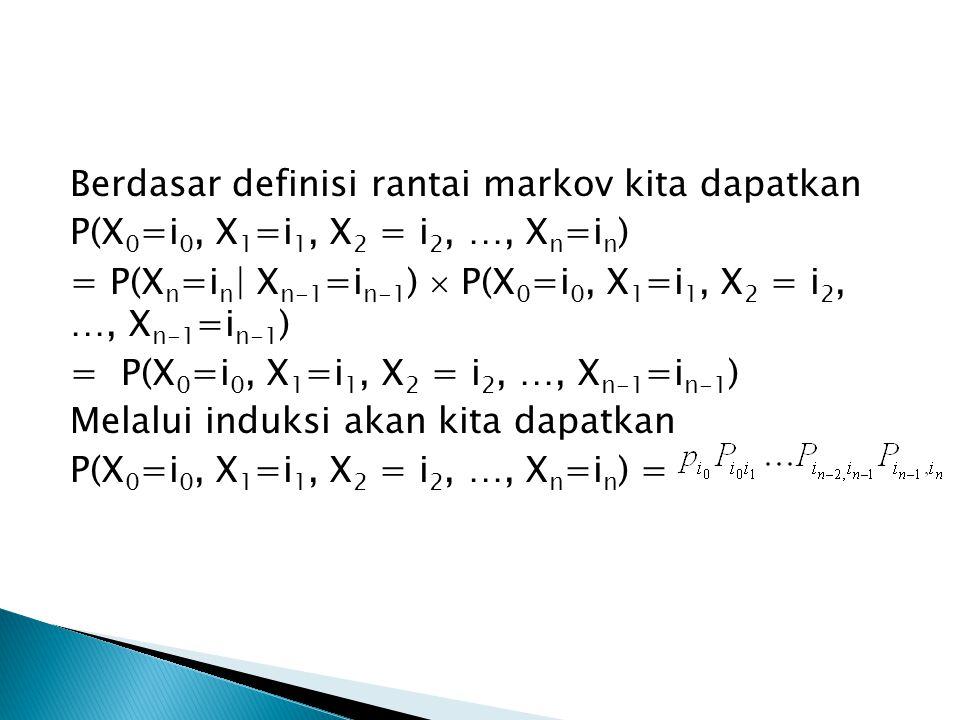 Berdasar definisi rantai markov kita dapatkan P(X0=i0, X1=i1, X2 = i2, …, Xn=in) = P(Xn=in| Xn-1=in-1)  P(X0=i0, X1=i1, X2 = i2, …, Xn-1=in-1) = P(X0=i0, X1=i1, X2 = i2, …, Xn-1=in-1) Melalui induksi akan kita dapatkan P(X0=i0, X1=i1, X2 = i2, …, Xn=in) =