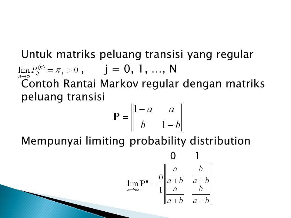 Untuk matriks peluang transisi yang regular , j = 0, 1, …, N Contoh Rantai Markov regular dengan matriks peluang transisi Mempunyai limiting probability distribution 0 1