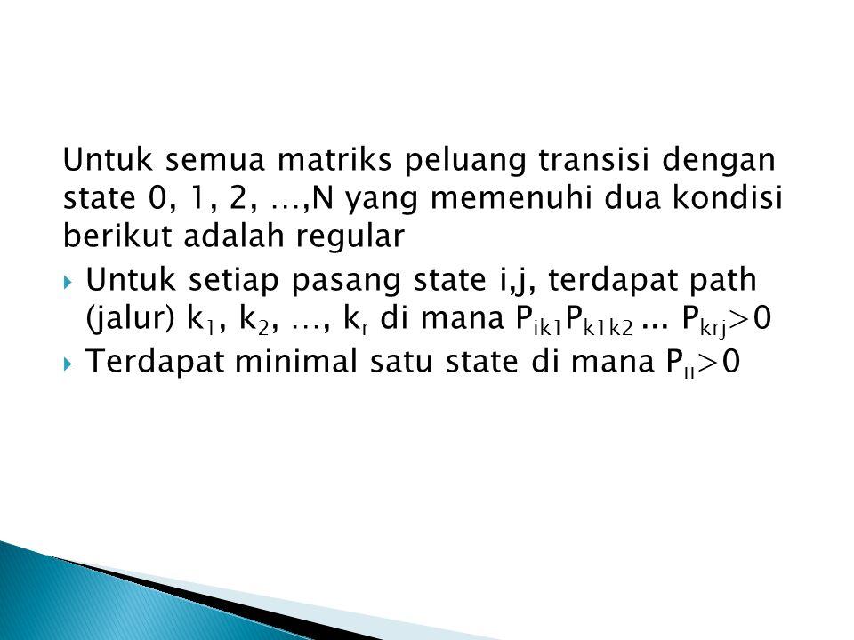 Untuk semua matriks peluang transisi dengan state 0, 1, 2, …,N yang memenuhi dua kondisi berikut adalah regular
