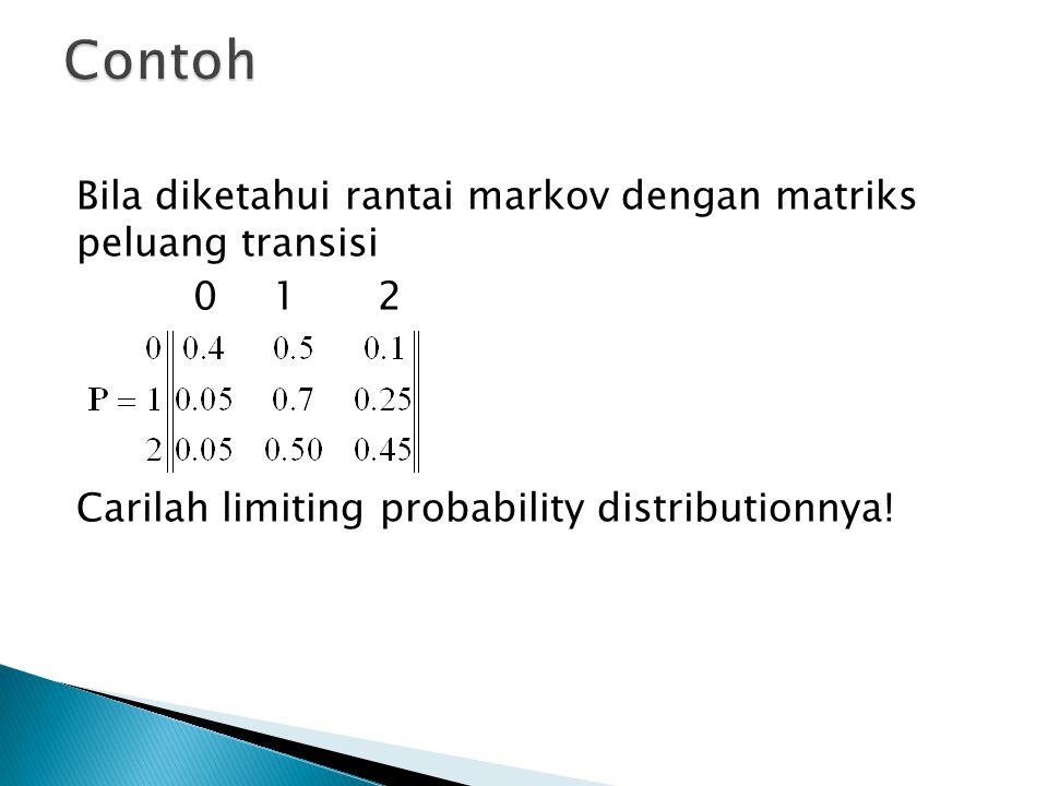 Contoh Bila diketahui rantai markov dengan matriks peluang transisi 0 1 2 Carilah limiting probability distributionnya.