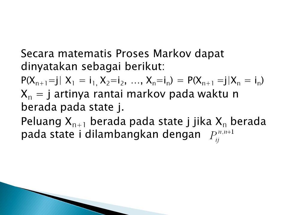 Secara matematis Proses Markov dapat dinyatakan sebagai berikut: