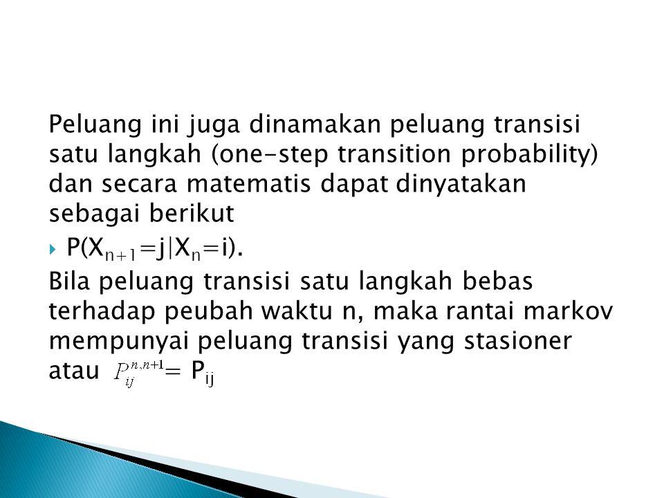 Peluang ini juga dinamakan peluang transisi satu langkah (one-step transition probability) dan secara matematis dapat dinyatakan sebagai berikut