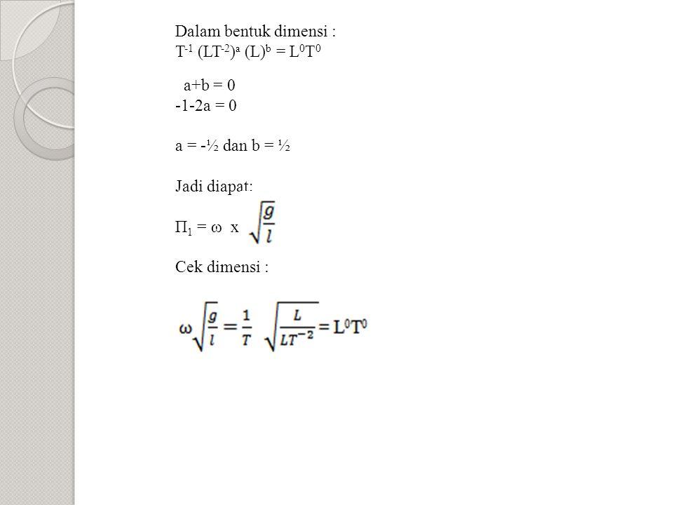 Dalam bentuk dimensi : T-1 (LT-2)a (L)b = L0T0. a+b = 0. -1-2a = 0. a = -½ dan b = ½. Jadi diapat;
