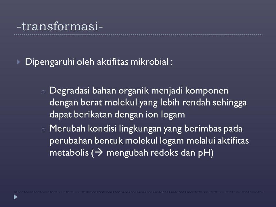 -transformasi- Dipengaruhi oleh aktifitas mikrobial :