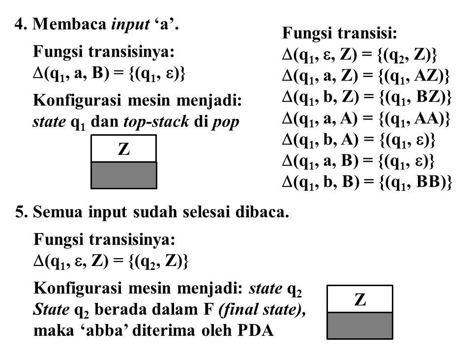Z Z 4. Membaca input 'a'. Fungsi transisi: Fungsi transisinya: