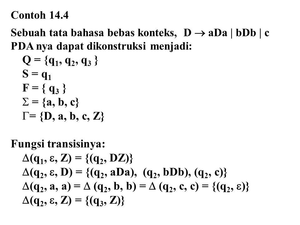 (q2, , D) = {(q2, aDa), (q2, bDb), (q2, c)}
