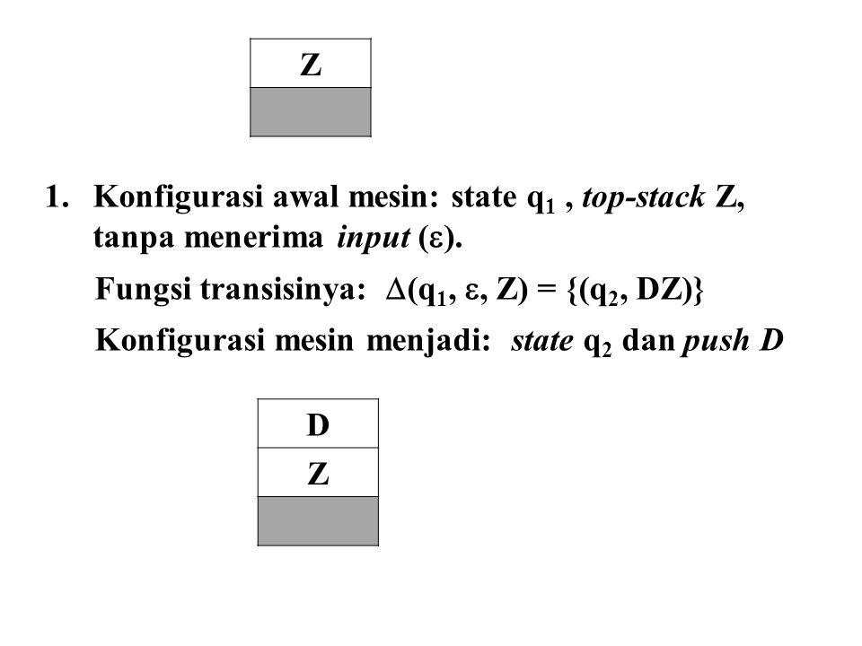 Z Konfigurasi awal mesin: state q1 , top-stack Z, tanpa menerima input (). Fungsi transisinya: (q1, , Z) = {(q2, DZ)}