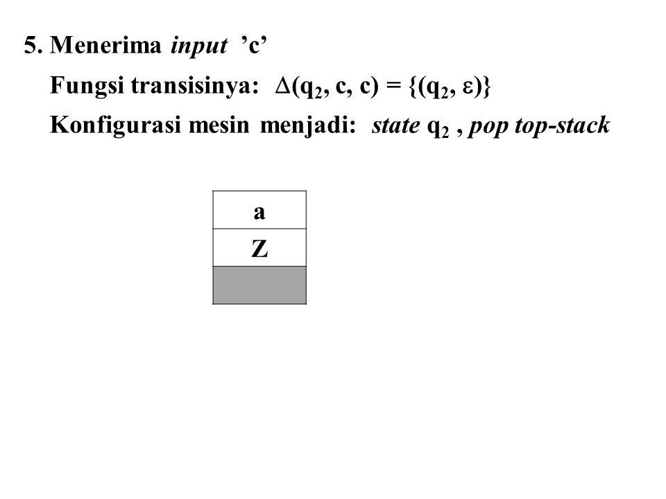5. Menerima input 'c' Fungsi transisinya: (q2, c, c) = {(q2, )} Konfigurasi mesin menjadi: state q2 , pop top-stack.