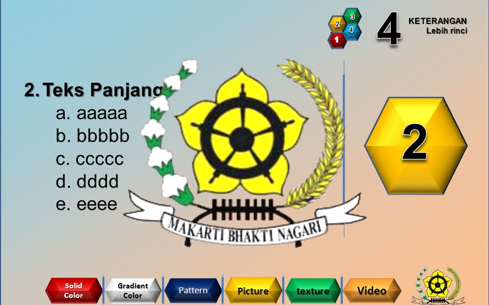 2 4 Teks Panjang a. aaaaa b. bbbbb c. ccccc d. dddd e. eeee Video