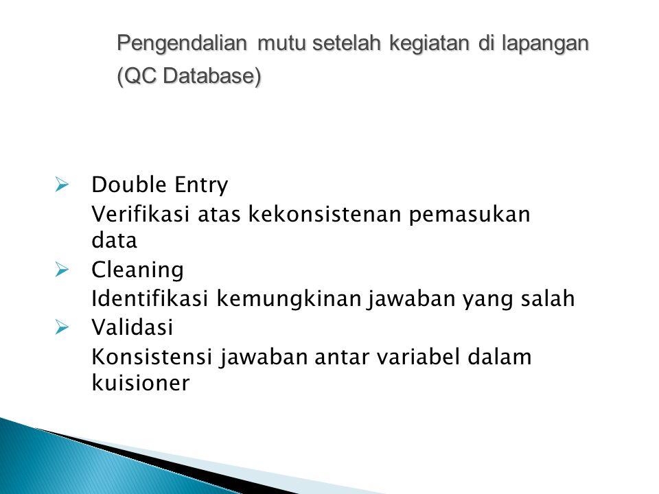Pengendalian mutu setelah kegiatan di lapangan (QC Database)
