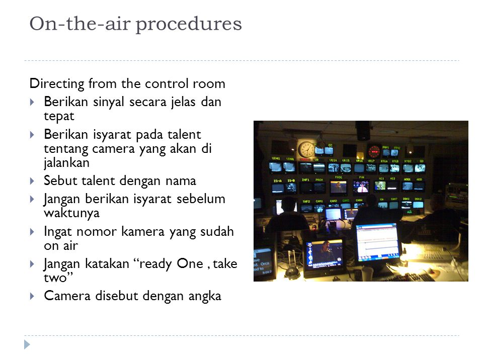 On-the-air procedures