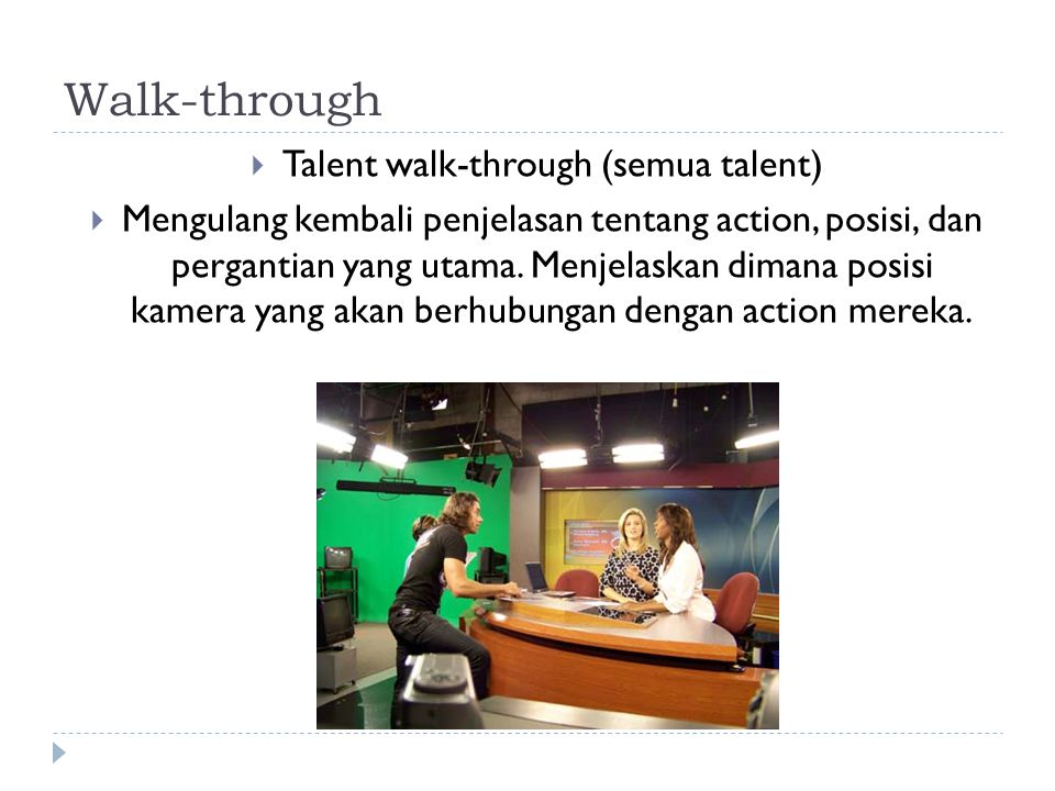 Talent walk-through (semua talent)