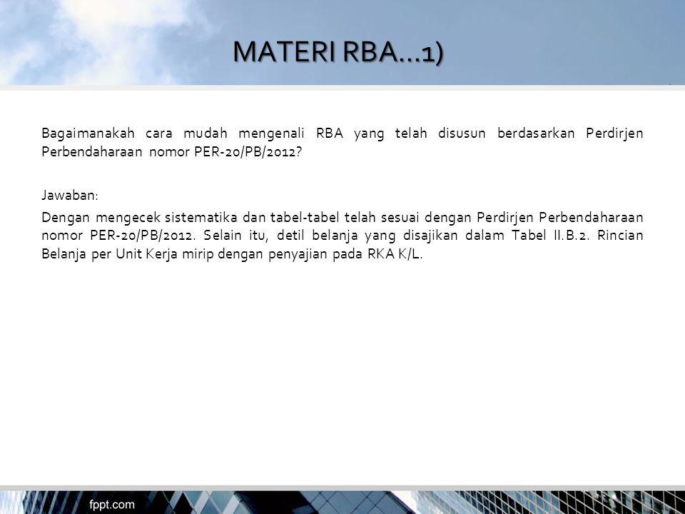 MATERI RBA...1) Bagaimanakah cara mudah mengenali RBA yang telah disusun berdasarkan Perdirjen Perbendaharaan nomor PER-20/PB/2012