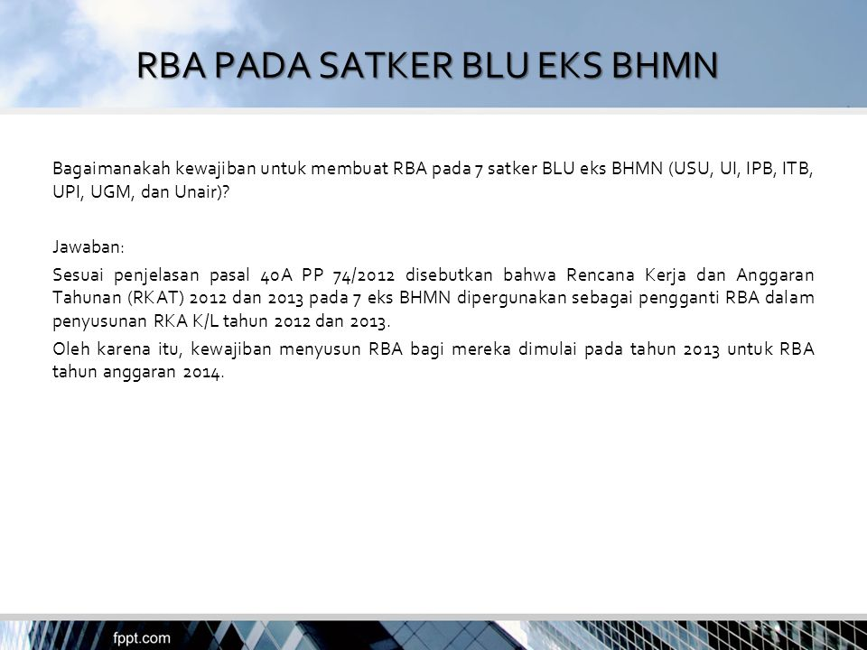 RBA PADA SATKER BLU EKS BHMN