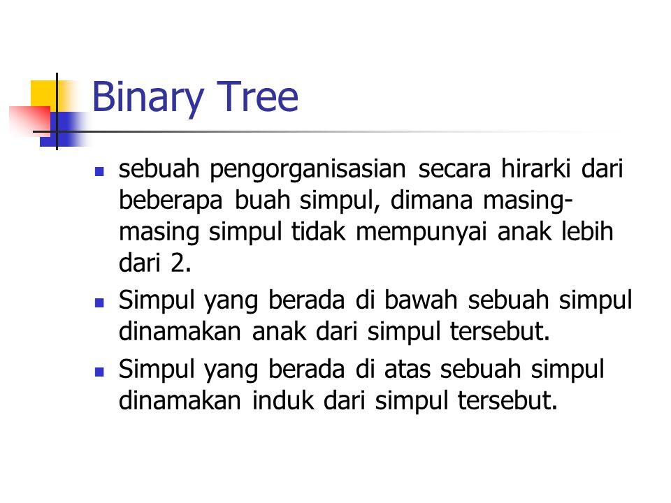 Binary Tree sebuah pengorganisasian secara hirarki dari beberapa buah simpul, dimana masing-masing simpul tidak mempunyai anak lebih dari 2.