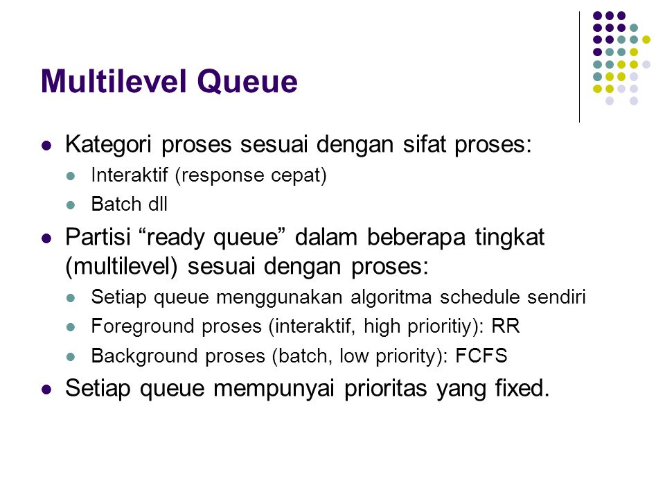 Multilevel Queue Kategori proses sesuai dengan sifat proses: