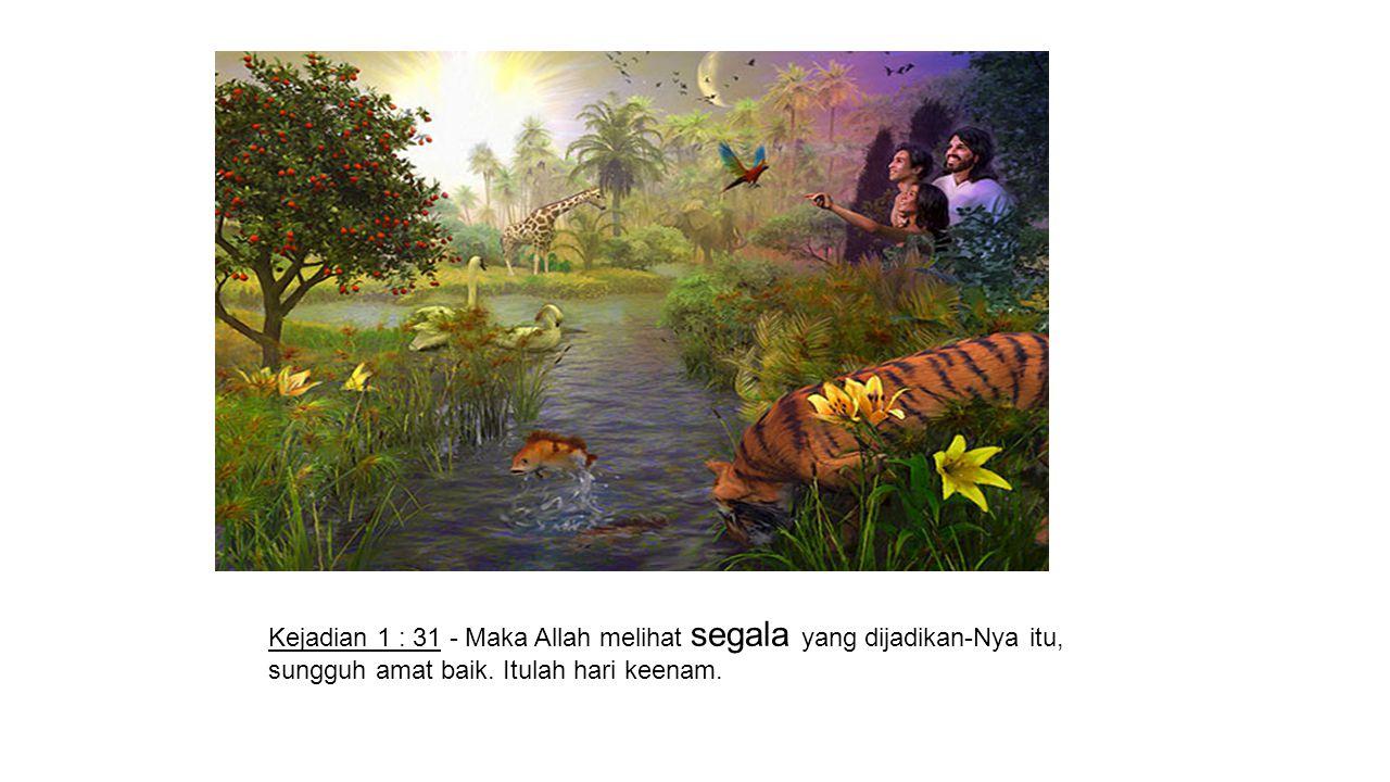 Kejadian 1 : 31 - Maka Allah melihat segala yang dijadikan-Nya itu, sungguh amat baik.