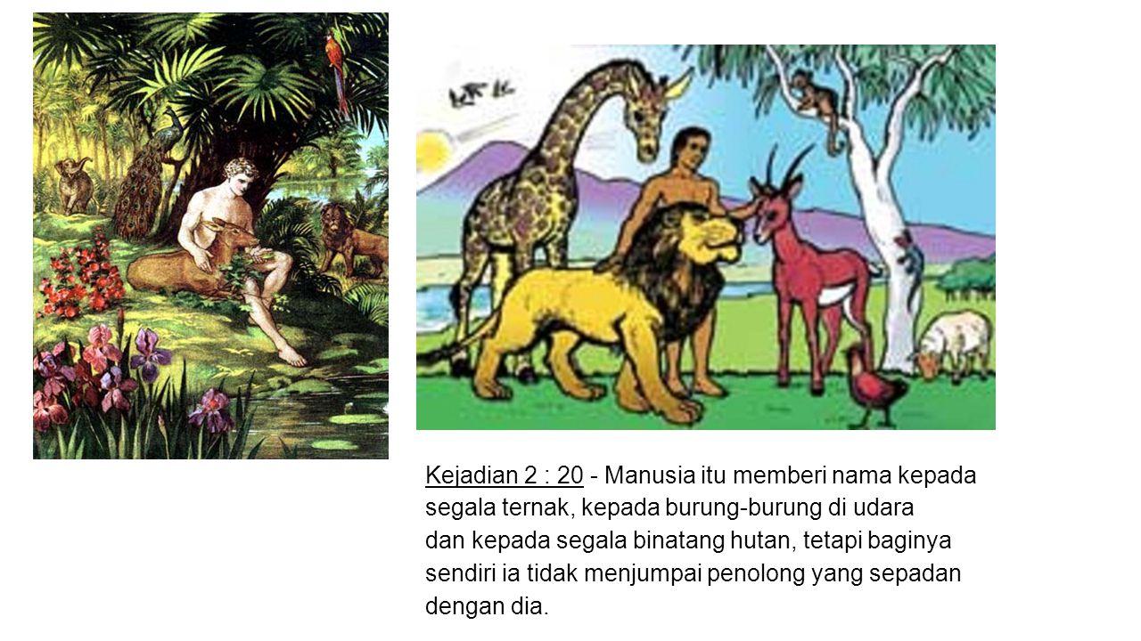 Kejadian 2 : 20 - Manusia itu memberi nama kepada segala ternak, kepada burung-burung di udara dan kepada segala binatang hutan, tetapi baginya sendiri ia tidak menjumpai penolong yang sepadan dengan dia.