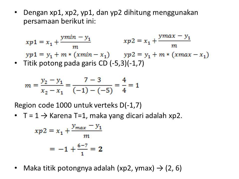 Dengan xp1, xp2, yp1, dan yp2 dihitung menggunakan persamaan berikut ini: