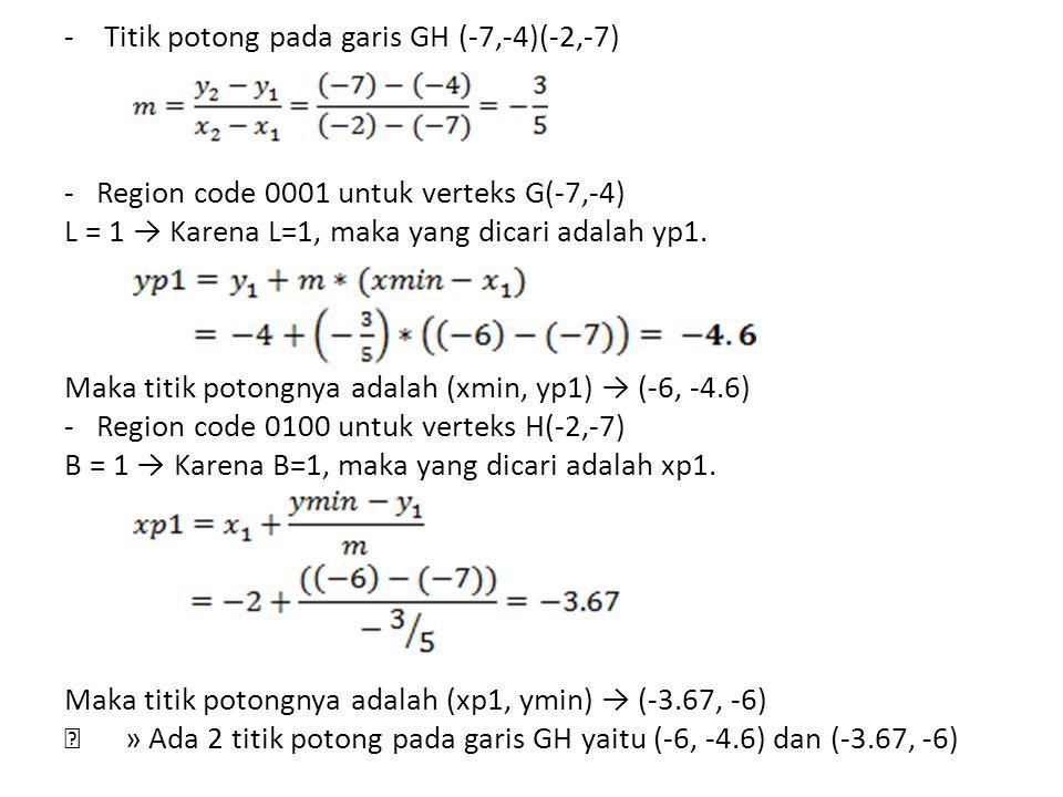 - Titik potong pada garis GH (-7,-4)(-2,-7) - Region code 0001 untuk verteks G(-7,-4) L = 1 → Karena L=1, maka yang dicari adalah yp1.
