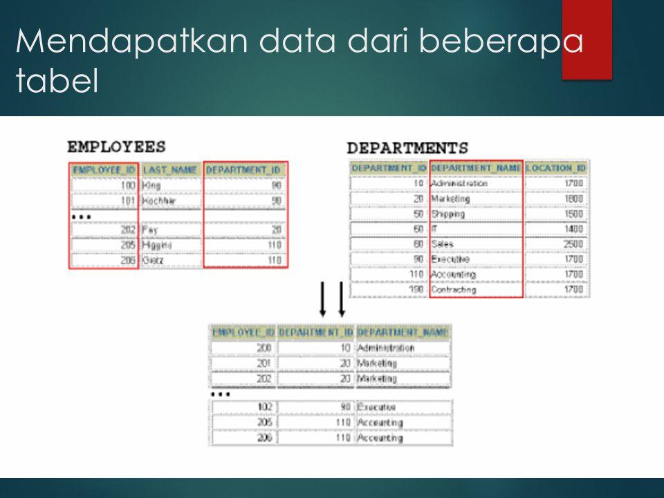 Mendapatkan data dari beberapa tabel
