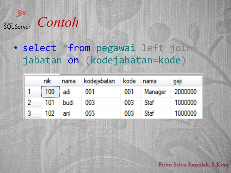 Contoh select *from pegawai left join jabatan on (kodejabatan=kode)