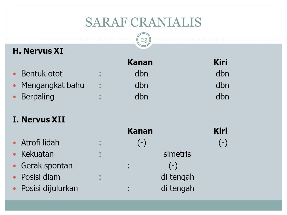 SARAF CRANIALIS H. Nervus XI Kanan Kiri Bentuk otot : dbn dbn