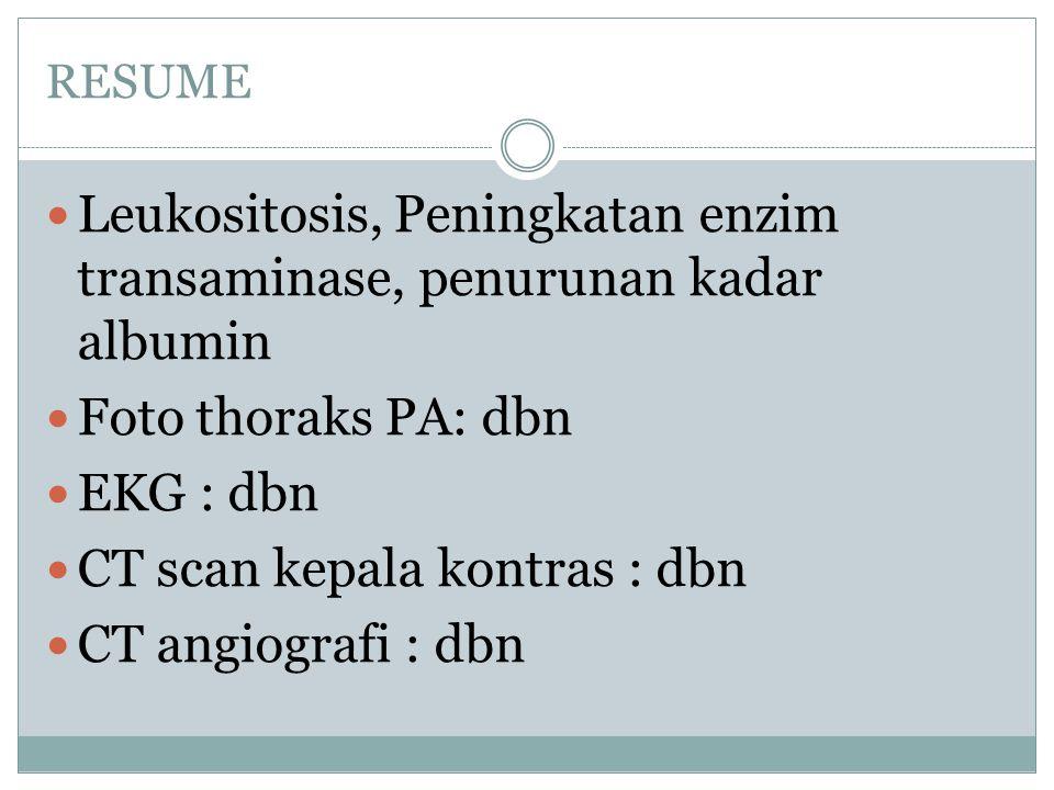 Leukositosis, Peningkatan enzim transaminase, penurunan kadar albumin