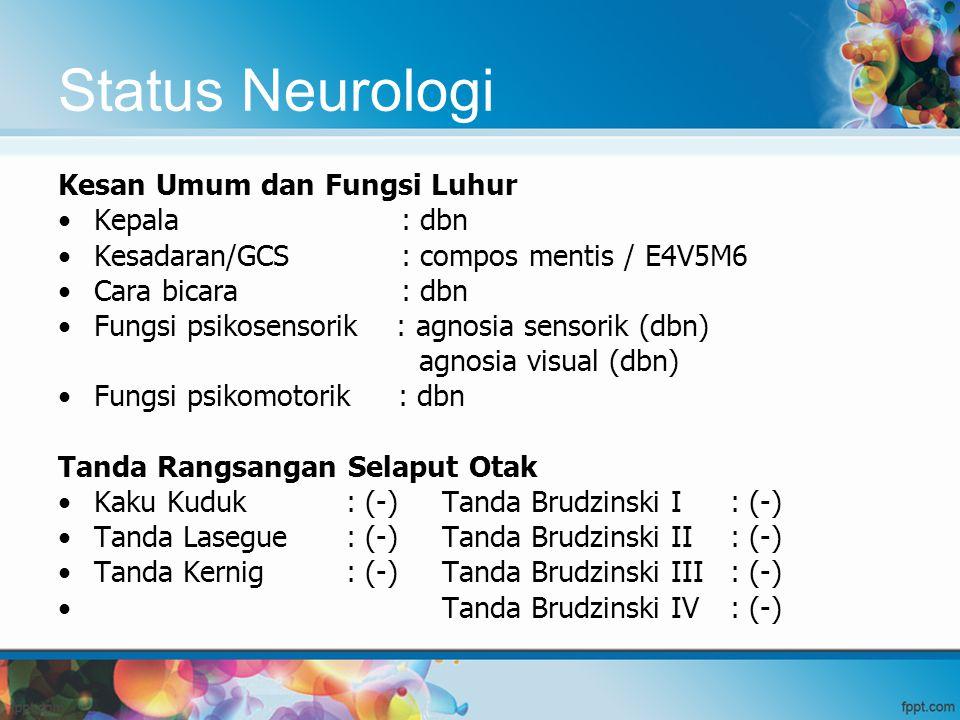 Status Neurologi Kesan Umum dan Fungsi Luhur Kepala : dbn