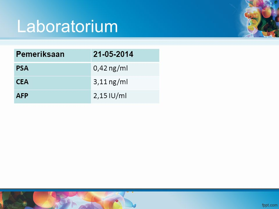 Laboratorium Pemeriksaan 21-05-2014 PSA 0,42 ng/ml CEA 3,11 ng/ml AFP
