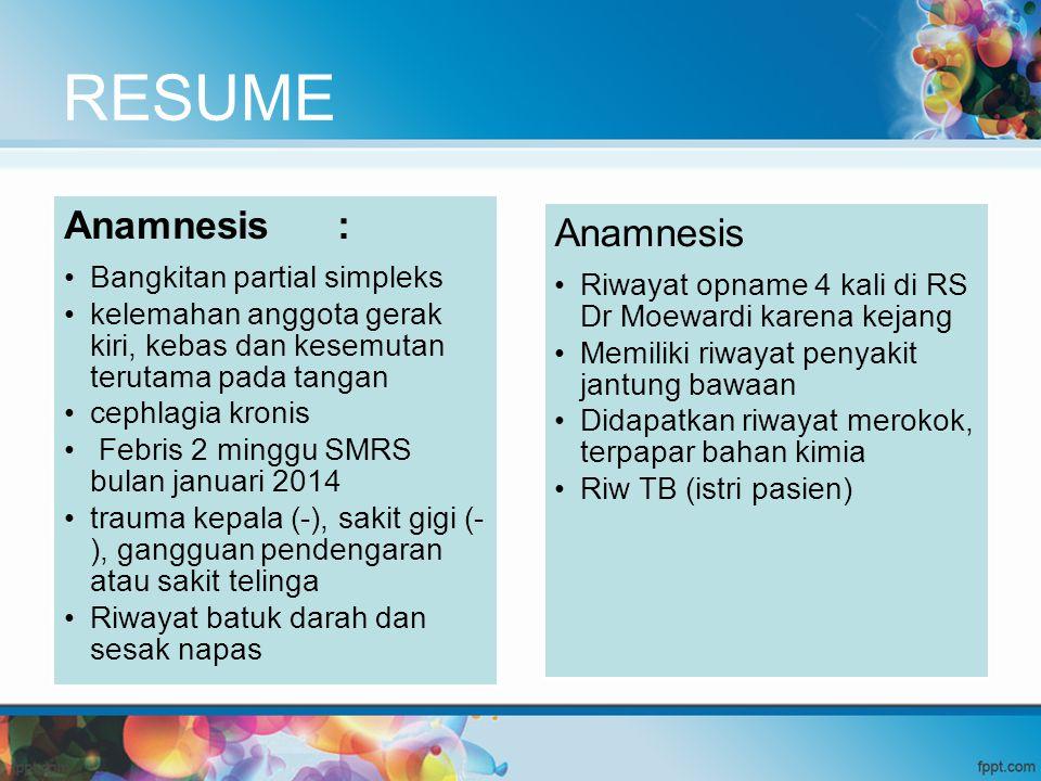 RESUME Anamnesis : Anamnesis Bangkitan partial simpleks