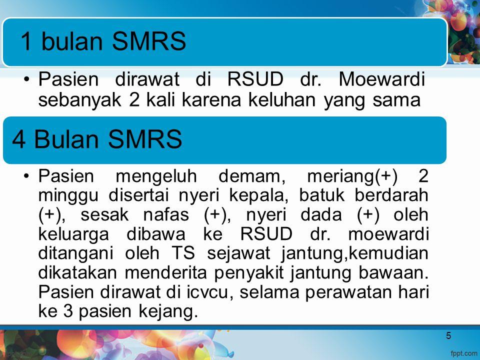 1 bulan SMRS Pasien dirawat di RSUD dr. Moewardi sebanyak 2 kali karena keluhan yang sama. 4 Bulan SMRS.