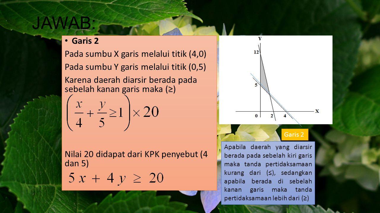 JAWAB: Garis 2 Pada sumbu X garis melalui titik (4,0)