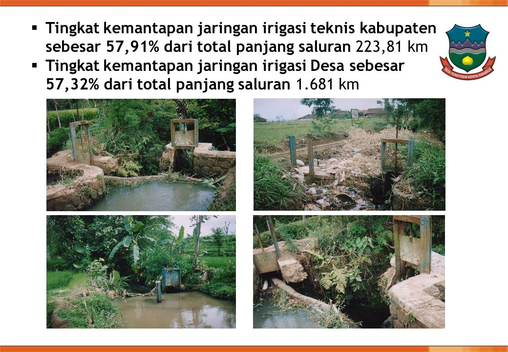 Tingkat kemantapan jaringan irigasi teknis kabupaten sebesar 57,91% dari total panjang saluran 223,81 km