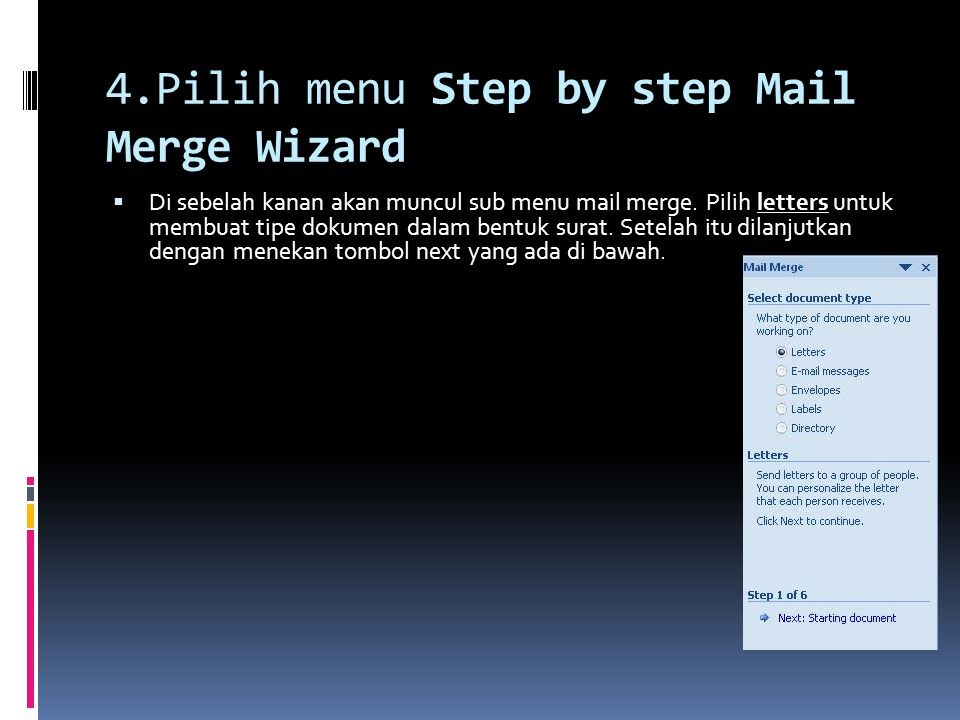 4.Pilih menu Step by step Mail Merge Wizard