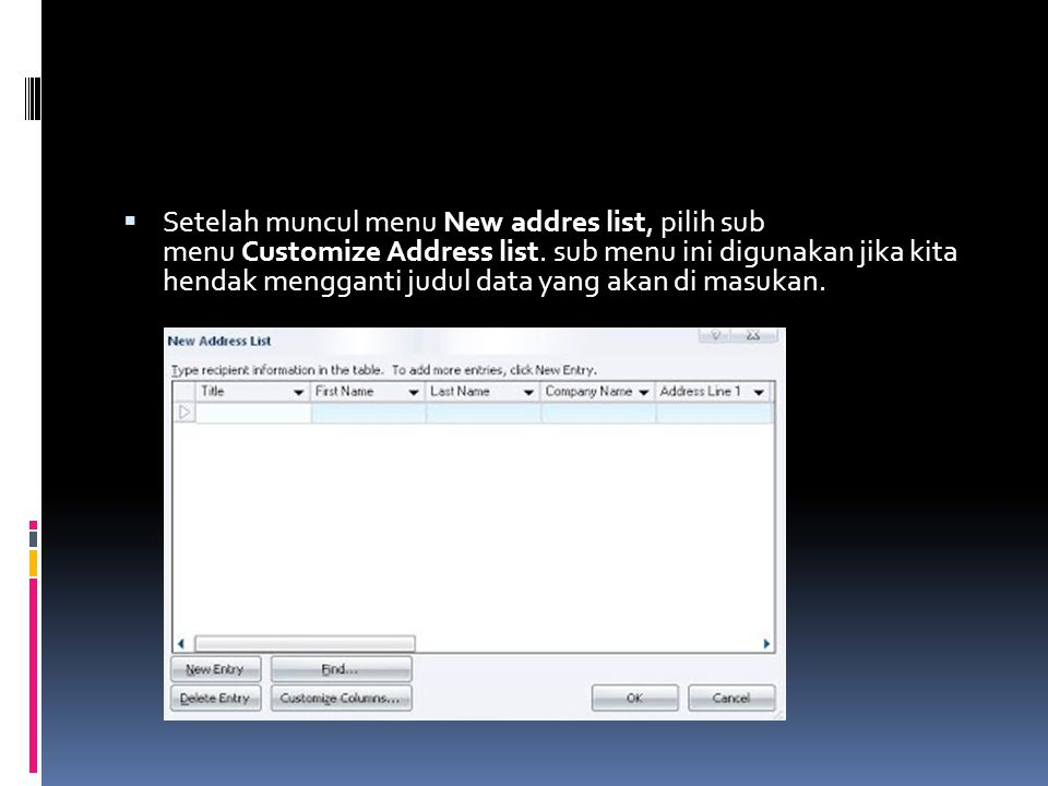 Setelah muncul menu New addres list, pilih sub menu Customize Address list.
